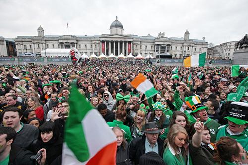 Trafalgar Square lors de la Saint Patrick
