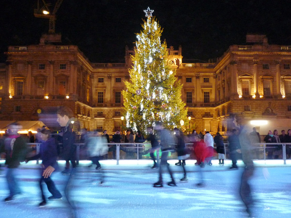 noel a londres patinoire Canary Wharf